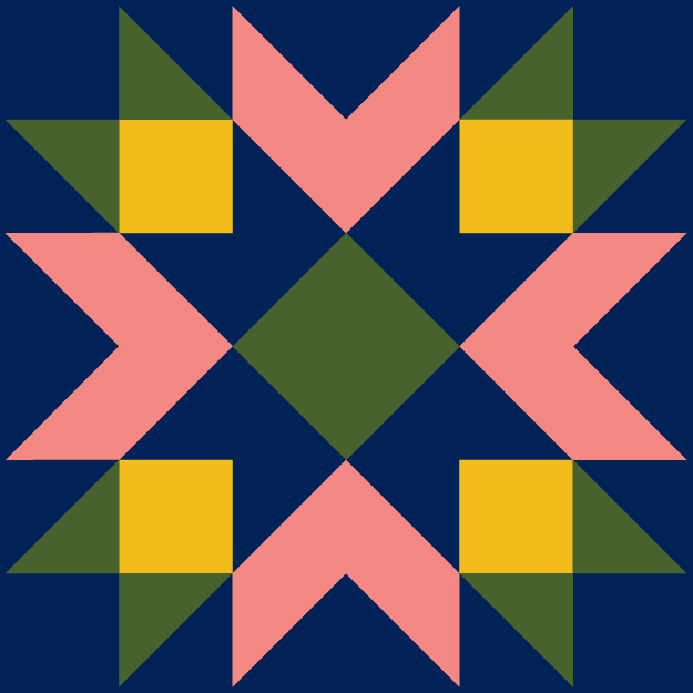 quilt block logo in navy pink yellow and green